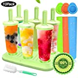 Ice Lolly Moulds, MMTX 10 Pack Molds Set, Ice Lolly Makers, Ice Cream Reusable Silicone DIY Frozon Popsicle Moulds for Kids,Toddlers and Adults with Non-Spill Lid Cleaning Brush. …