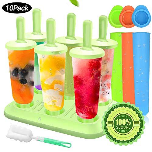 MMTX Popsicle Stampi, 10 Pacchi Ice Cream Stampi Set Ilicone Riutilizzabili Set Homemade DIY Ice Pop Lolly Frozen Yogurt Bar Ideale Per La Preparazione di Ghiaccioli, Gelati, Sorbetti (verde1) (Verde)