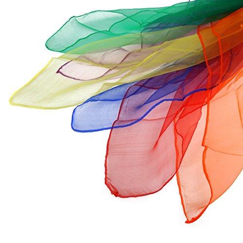 OULII Juggling Scarves Hemmed Square Dance Scarves Pack of 12(Random Color)