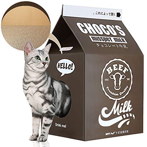 ScratchMe Wellpappe Katzenhaus für Katzen, aus Karton, Milchbox-Form, Katzenhaus für Kleine bis Mittlere Größe Katzen,Braun, 33× 32 ×56 cm