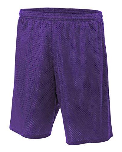 A4 NB5301-PUR Lined Tricot Mesh Shorts, Medium, Purple