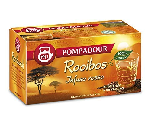 Pompadour 1913 Rooibos (Infuso Rosso) Aromatico e Distensivo Naturalmente Senza Teina - 1 x 20 Bustine di Tè (35 Grammi)