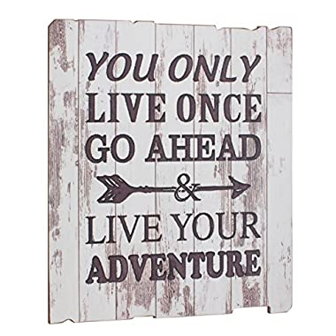 Stonebriar Rustic Wooden Worn White Painted  Live Your Adventure  Wall Art with Attached Hanger, Inspirational Wall Decor, Artwork for Entryway, Office, Bedroom, and Living Room