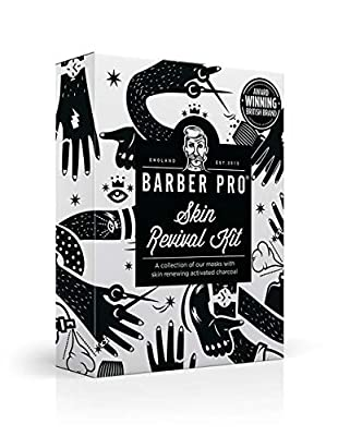 BARBER PRO Skin Revival Kit, Gentlemen's Sheet Mask, Under Eye Mask, Foaming Mask & Face Putty (4 Masks) | Christmas Gift Set | Perfect for Mens Grooming | Best Grooming Gift Set