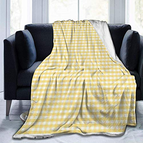 Guduss Yellow Gingham Check Throw Blanket Soft Flannel Fleece Blanket for Couch,Bed,Sofa,Chair Office,Travel,Camping,Modern Decorative Warm Blanket50*40