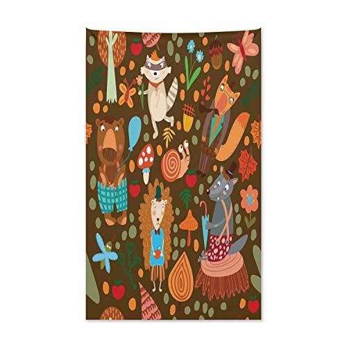 ABAKUHAUS Igel Wandteppich und Tagesdecke, Waschbär und Schmetterling aus Weiches Mikrofaser Stoff Kein Verblassen Klare Farben Waschbar, 140 x 230 cm, Mehrfarbig