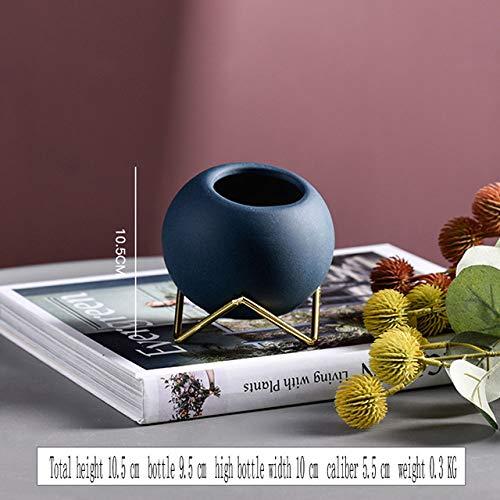 Nordic keramische kleine bloempot ronde bal smeedijzeren desktop beugel vaas decoratie ornamenten bloemen bloemschik, blauw