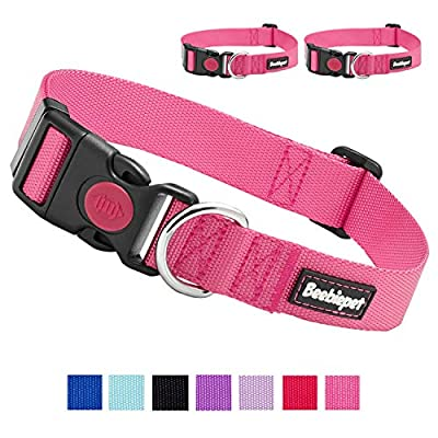 """beebiepet 2 Packs Classic Dog Collar with Quick Release Buckle Adjustable Dog Collars for Small Medium Large Dogs (L Neck 17""""-26"""", Pink)"""