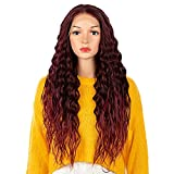 NOBLE Easy-360 Lace Wigs 13x4 Lace Frontal Wigs Free Part 28 inches Curly Lace Front Wigs with Baby Hair for Black Women Long Wavy Synthetic Lace Wigs Ombre Wine Red Color