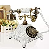 Retro Rotary Phone, Vintage Rotary Dial Telephone Old Fashioned Landline Phones for Home, Office & Hotel Decor - White