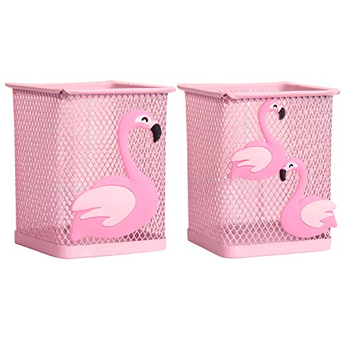 Trycooling 2 Pack Metal Cute Pen Pencil Holder Office Home Desk Square Pencil Cup Caddy Box Makeup Brush Holders for Girls (Flamingo)
