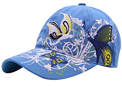 Belsen Gestickte Schmetterlings-Baseballmütze für Mädchen Einheitsgröße Blau
