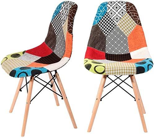 JXQ Cars 2 x Retro Patchwork-Stuhl Stoff Restaurant Lounge-Sessel aus Holz Büro zu Hause Esstisch und Stühle,2pcs
