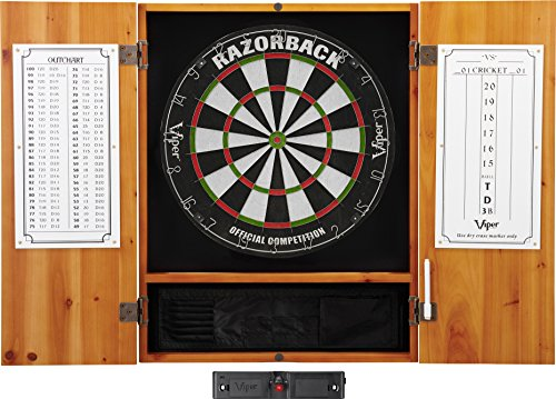 Viper Metropolitan Solid Wood Cabinet & Sisal/Bristle Dartboard Ready-to-Play Bundle: Elite Set (Razorback Dartboard, Darts and Laser Throw Line), Oak Finish