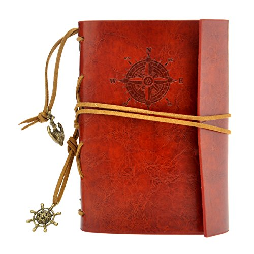 NUOLUX Retro Vintage Pirate Cuaderno,PU Cuero Libreta Bonitas Hojas Blancas Cuaderno de Viaje Bloc Notas Diario de viaje Jotter,cadena suelta String Bound (Vino rojo)