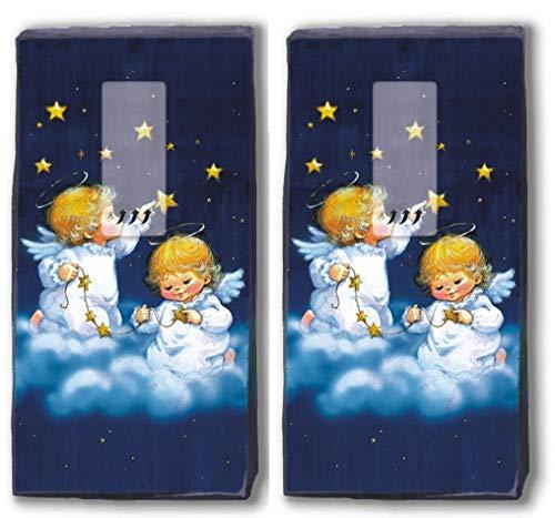 20 Taschentücher (2x 10) Taschentücher Niedliche Engel/Winter / Weihnachten