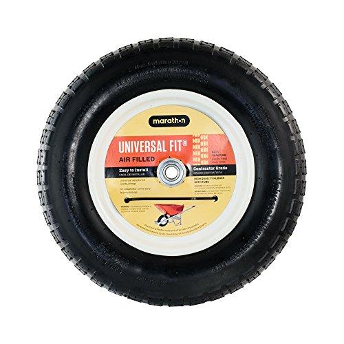 "Marathon 20265 Universal Fit Pneumatic (Air-Filled) Wheelbarrow Tire 3"" Centered Hub 5/8"" Nylon Bushing with Spacer Kit Included -  Marathon Industries"