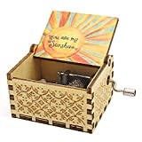 VACTER Wooden Music Box You are My Sunshine for Daughter Son Wife Dad Friends,Hand Crank Wood Musical Box Laser Engraving Handmade (Color Sunshine)