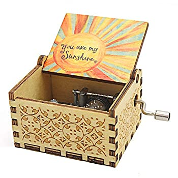 VACTER Wooden Music Box You are My Sunshine for Daughter Son Wife Dad Friends,Hand Crank Wood Musical Box Laser Engraving Handmade  Color Sunshine
