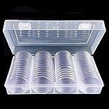 arthomer 60 Piezas de Cápsulas de Monedas Redondas Funda de Monedas de Plástico con Caja de Organizador de Almacenaje para Materiales de Colección de Monedas (40 mm)