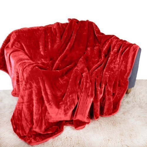 Quality Linen and Towels Red Mink Throw Luxury Soft Plush Extra Large (200cm x 240cm- Suitable for King Size Bed or 2/3 Seater Sofa) Sofa Bed Runner Bedspread Blanket