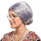 Balinco Peluca abuela gris con moño disfraz de fiesta de carnaval accesorio para disfraz