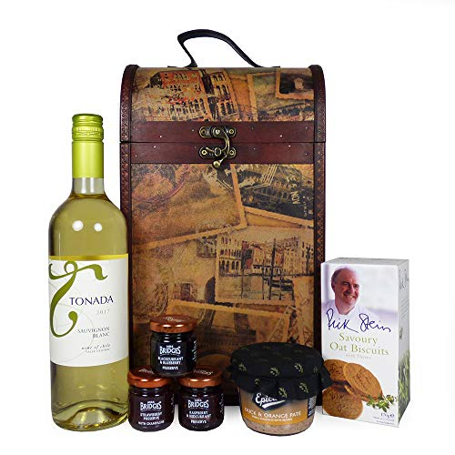 The Premium Clarendon Vintage Wooden Wine Chest Gift Food Hamper with 750ml Tonada Sauvignon Blanc White Wine and Nibbles - Gift Ideas for Valentines, Mother's Day, Birthday, Anniversary, Business and Corporate