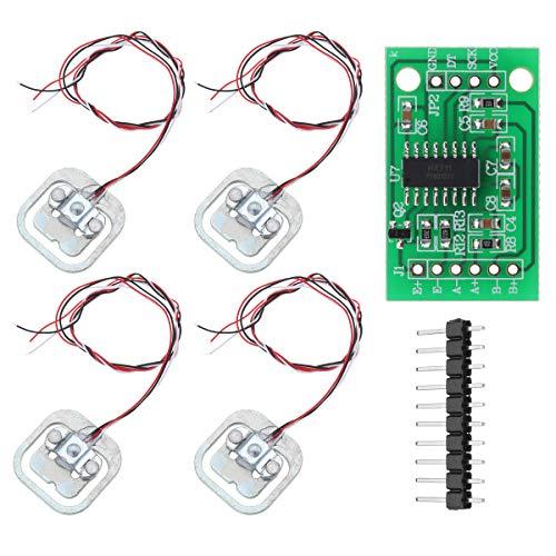 YOUMILE 4er Pack DIY 110lbs 50KG Halbbrücken Wägezelle Gewicht Dehnungssensor Widerstand + HX711 AD Modul
