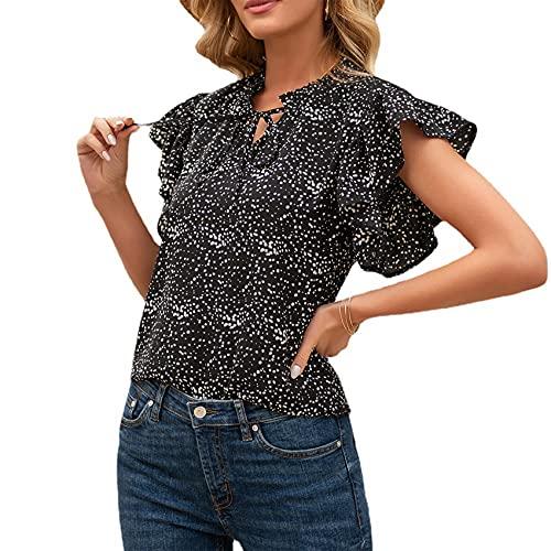 Jersey Informal De Primavera Y Verano para Mujer, Camiseta Holgada con Cuello En V, Estampado De Lunares, Manga Corta, Manga De Loto, Camiseta para Mujer