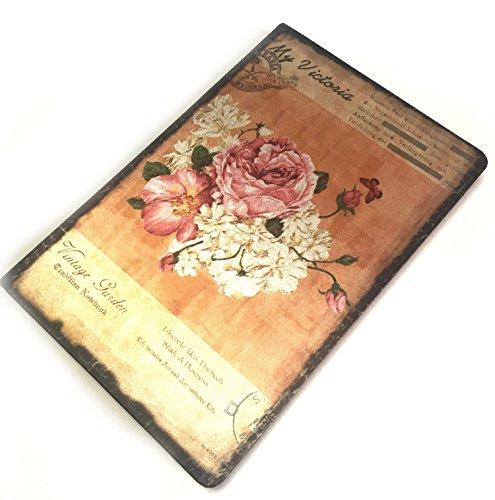 【Angelicate】アンティーク 日記帳 フラワー ノート イラスト しおり付き 花柄 布表紙 選べる デザイン (ピオニー)