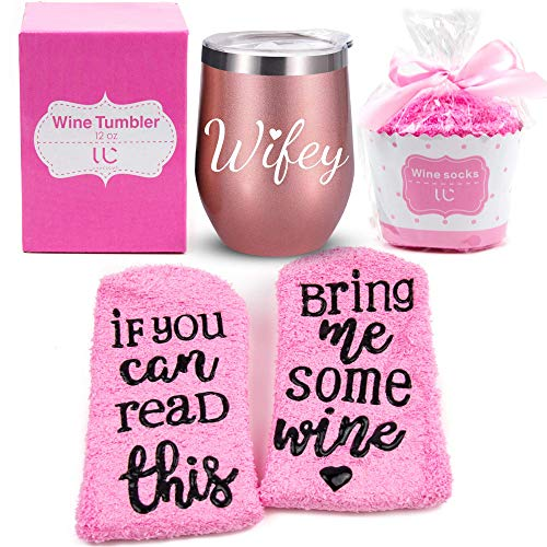 Wifey Gift Set | Stainless Steel 12 oz Wine Tumbler + Cupcake Wine Socks | Double Insulated Stemless Wine Tumbler with Lid and Funny Socks | Wife Gifts, Bridal Shower Gifts (Rose Gold)