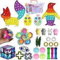 感じのおもちゃ泡の山スクイーズ減圧おもちゃ プッシュポップバブルフィジェットスクイーズおもちゃおもちゃ、減圧おもちゃ、、子供と大人のためのストレス解消おもちゃ (28個+収納ボックス)