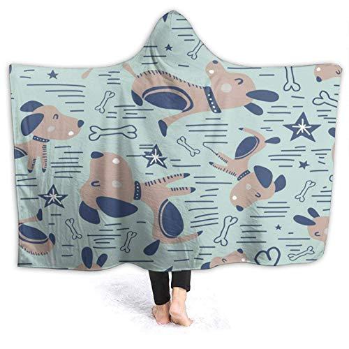 Manta infantil dibujada a mano para perros de moda escandinavo, portátil, 60 x 50 pulgadas, difusa ultra cómoda, manta de oficina impresión, sofá duradero, regalo manta de forro polar