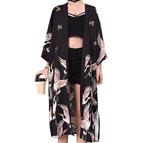YOUMU Damen Japanischer Kimono Cardigan Mantel Yukata Outwear Tops Vintage japanischer Stil Gr. Einheitsgröße, Schwarz-lang
