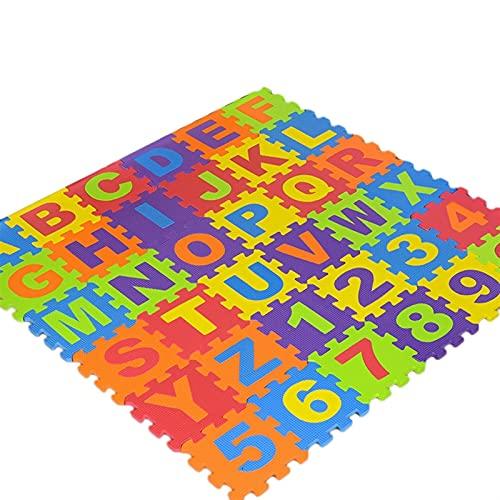 LNSGA 72 PCS EVA Espuma Puzzle Mats Niños Coletas para niños para niños Patrón Número Número Alfombra Crawling Mats