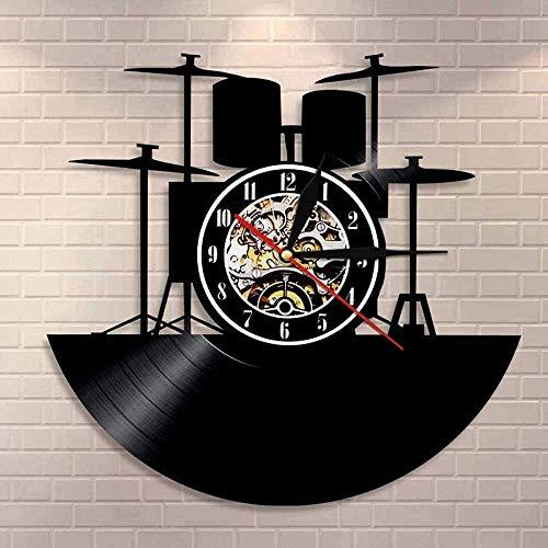 ZYBBYW Banda de música Tambor Música Kit de batería Disco de Vinilo Reloj de Pared Instrumento Musical Baterista Decoración del hogar Reloj de Pared