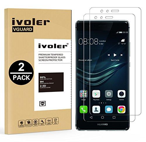 iVoler [2 Pack] Pellicola Vetro Temperato per Huawei P9 [Garanzia a Vita], Pellicola Protettiva, Protezione per Schermo