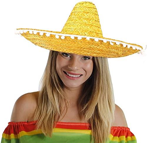 SOMBRERO NARANGE HOMBRE MUJER MEXICAN FANCY DRESS - Sombrero con borde de pompón a granel (paquete de 12)