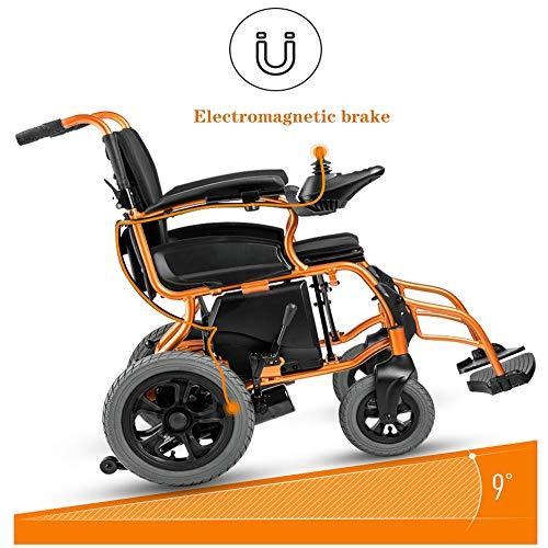 QBYLYF Ltralichte opvouwbare elektrische rolstoel opvouwbare kleine oudere gehandicapten, intelligente automatische lithiumbatterij met vier wielen die op het niveau zijn