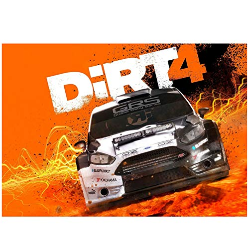 Sanwooden Dirt 4 Poster Xbox Windows New PS4 Rally Car Game Oil Paintings Canvas Art Prints Wall Art for Living Room Bedroom Decor -60x90cm No Frame