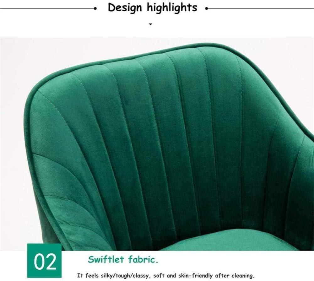 WERCHW Velvet Fabric Accueil Chaise de Bureau, Hauteur pivotante réglable chaises de Bureau Ergonomique Ordinateur Sieges Accueil Graceful Tissu Canapé Chaise Retour Green