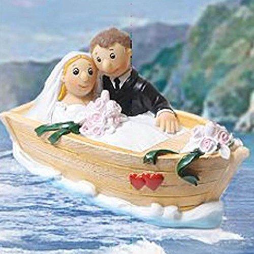 Shophaus24 Brautpaar im Boot sitzend als Spardose zum dekorieren für die Hochzeitstorte, Länge 13cm