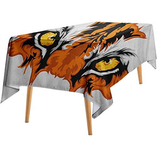 LanQiao Eye Dustproof Tablecloth Tiger Eyes Graphic Mascot Animal Face Bengal Cat African Safari Predator Theme Wild Long Tablecloth 60'x84' Orange Yellow Black
