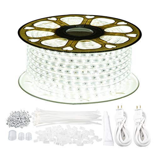 GUOTONG LED Strip Rope Lights,131.2ft/40m Waterproof, 6000K Daylight White,110V 2 Wire, Flexible, 2400 Units SMD 2835 LEDs,Indoor/Outdoor Use, Ideal for Backyards, Decorative Lighting