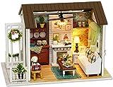 Kit de casa de muñecas en miniatura DIY Casa de muñecas de madera Accesorios con muebles Set de juguete Modelo Casa Cabaña montada…