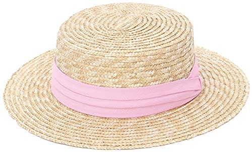 GEMVIE-Sombrero Pork Pie Paja Sombrero de Paja Canotier Mujer/Hombre Sombreros con Banda Grosgrain Primavera/Verano