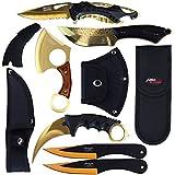 Blade Factory 7pc Tactical Black & Gold Set   Fixed Blade Knife   Karambit Hawkbill Knife   Small Pakkawood Axe   Pocket Knife   2pc Throwing Knife Set   Holt Multi Tool Keychain