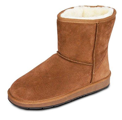 HEITMANN Damen Fell Boots Lammfell Stiefel, Fellstiefel, Fellboots, Camel, grau (40, Camel)