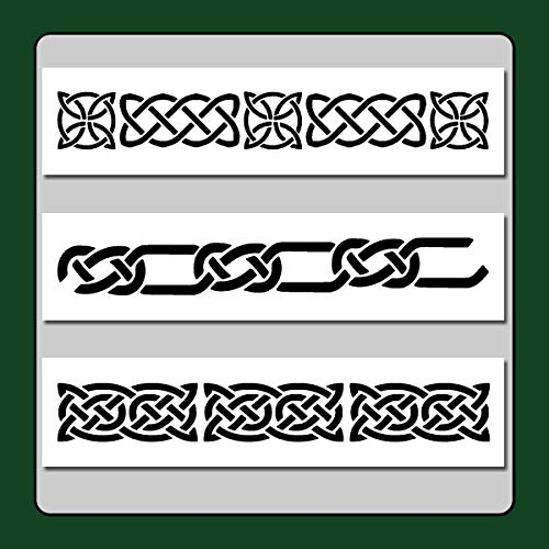 Set of 3 Celtic Knot Border Stencils Templates 3 X 12 Each Wiccan/Medieval/Irish/Decor