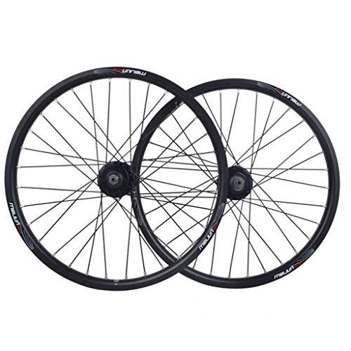LDDLDG Juego Ruedas Bicicleta Rueda de BMX Plegable Bicicleta Conjunto de 20 Pulgadas de aleación de Aluminio de liberación rápida del Disco de Freno de Rueda (Color : Black)